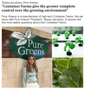 Pure Greens Container Farms give the grower complete control over the growing environment