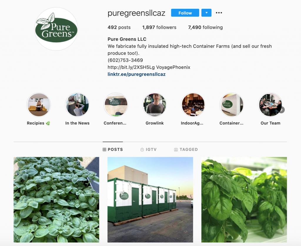 Screenshot of the Pure Greens Instagram page