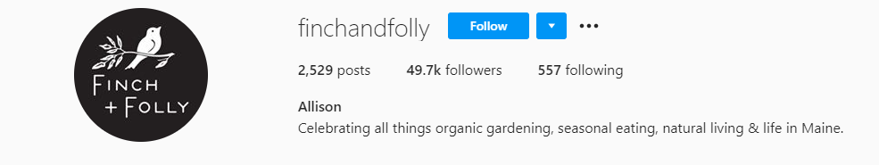 Farming Instagram Account Finch and Folly